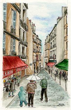 croquis aquarelle rue paris