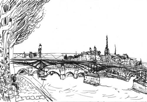dessin pont des arts