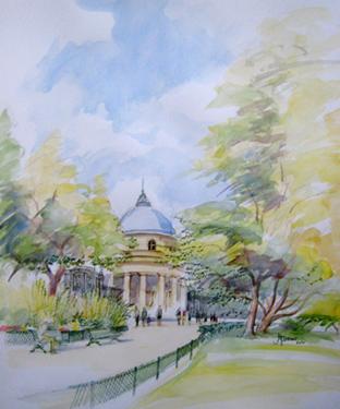 parc monceau aquarelle
