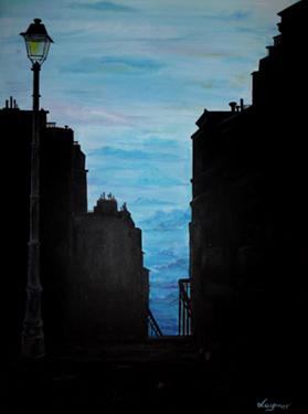 rue montmartre nuit peinture