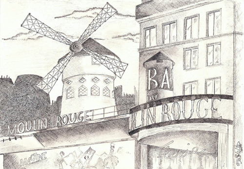 dessin moulin rouge