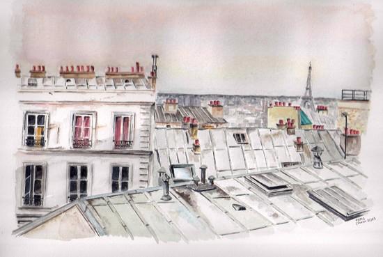 toits de paris dessin