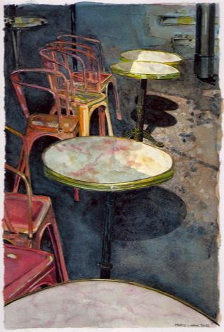 aquarelle terrasse café