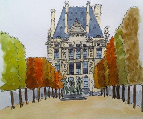 dessin jardin louvre