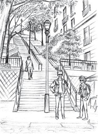 escaliers montmartre dessin