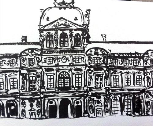 facade louvre dessin