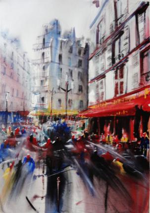 rue montmartre aquarelle