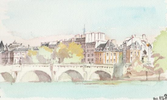 pont neuf aquarelle