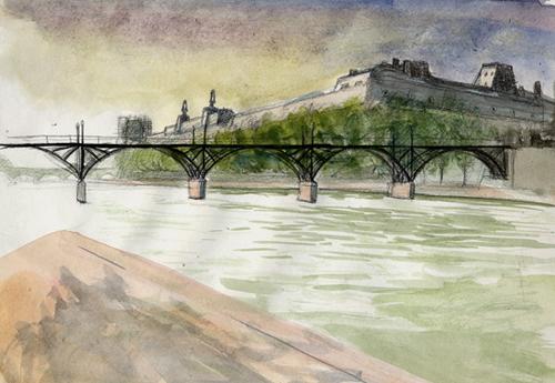 dessin du pont des arts