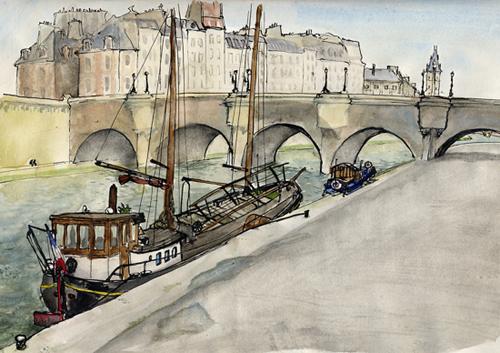 dessin paris pont neuf