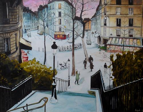 aquarelle montmartre rue utrillo